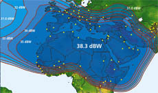 Arabsat 2B C-band medium power downlink coverage map